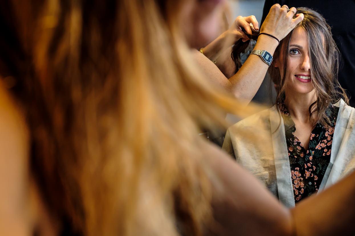 Novia en peluquería