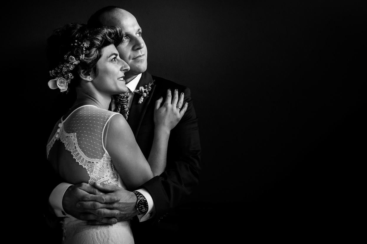 Fotografía de pareja en boda en el hotel Jaizkibel