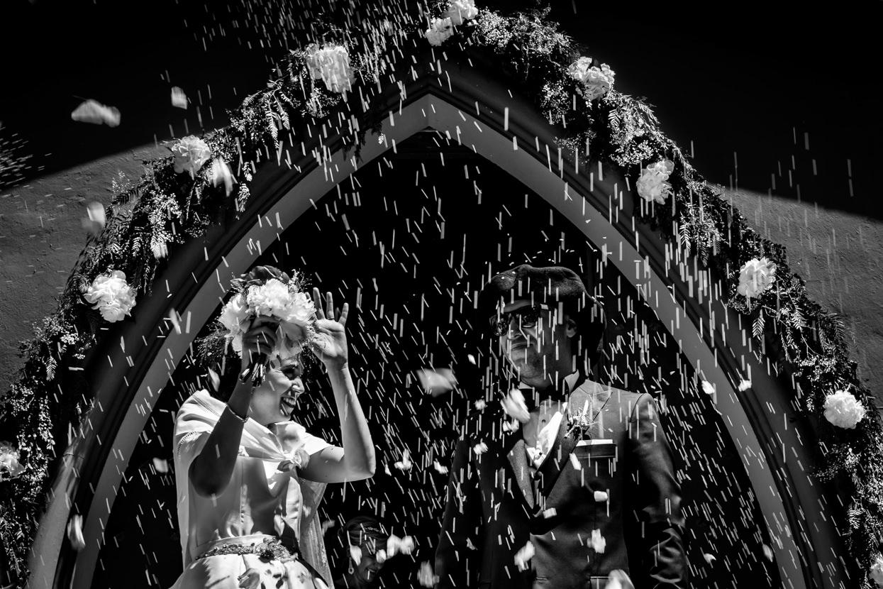 Lluvia de arroz en boda en San Sebastián