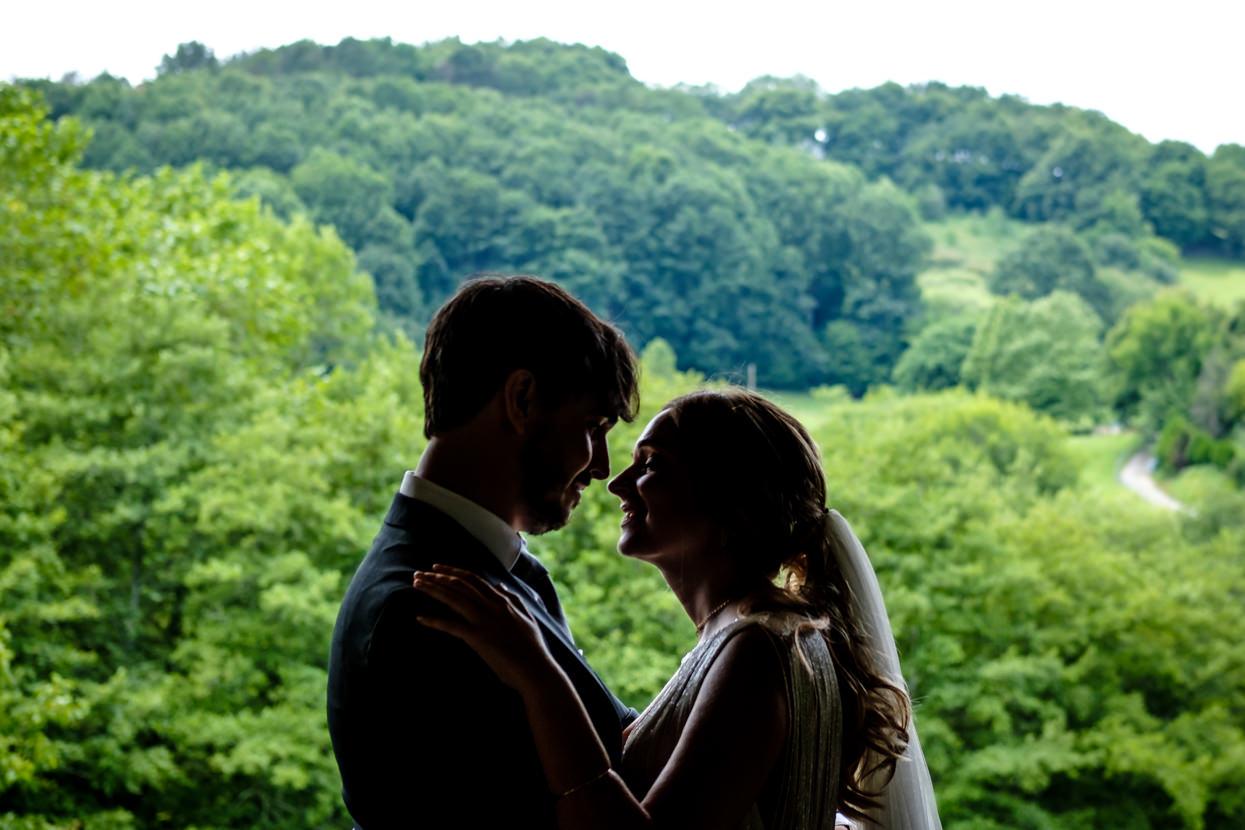 Retrato de pareja en boda en finca Fagoaga