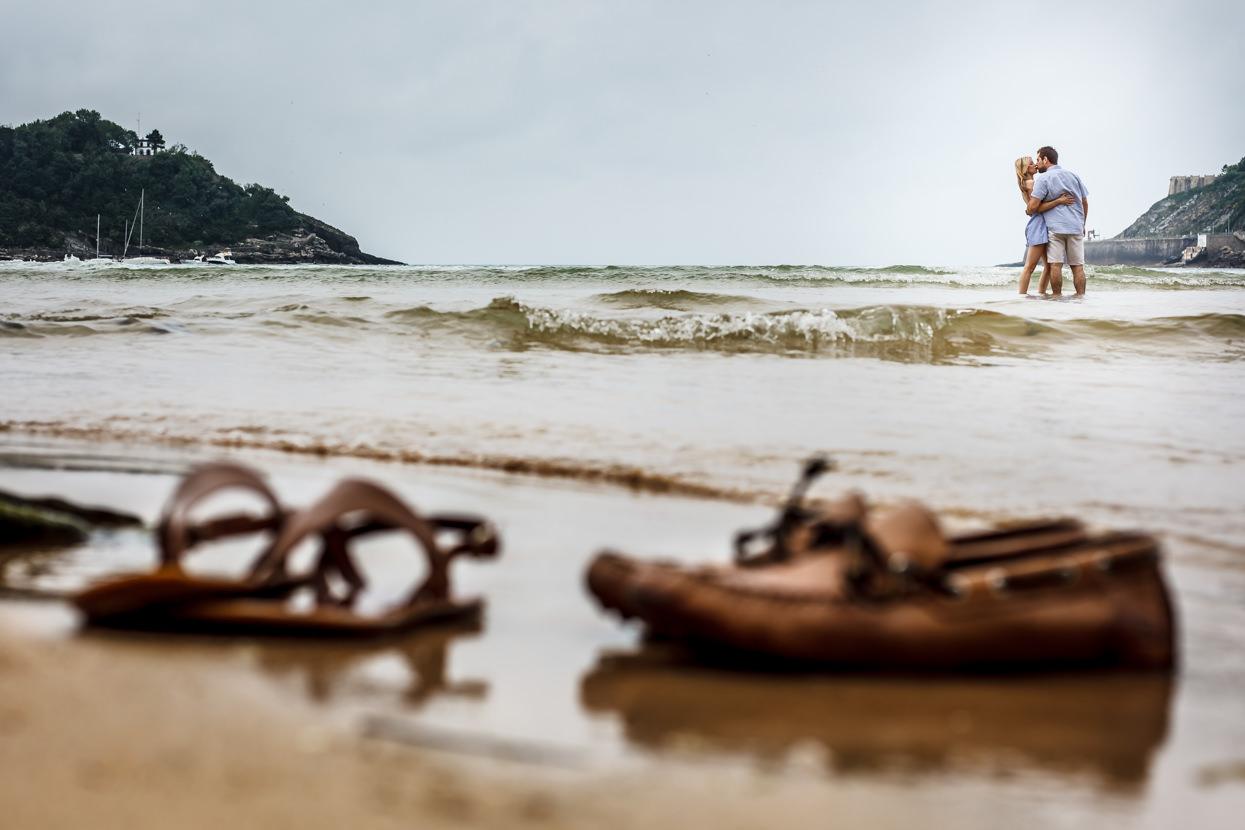 preboda en donostia beso en la playa