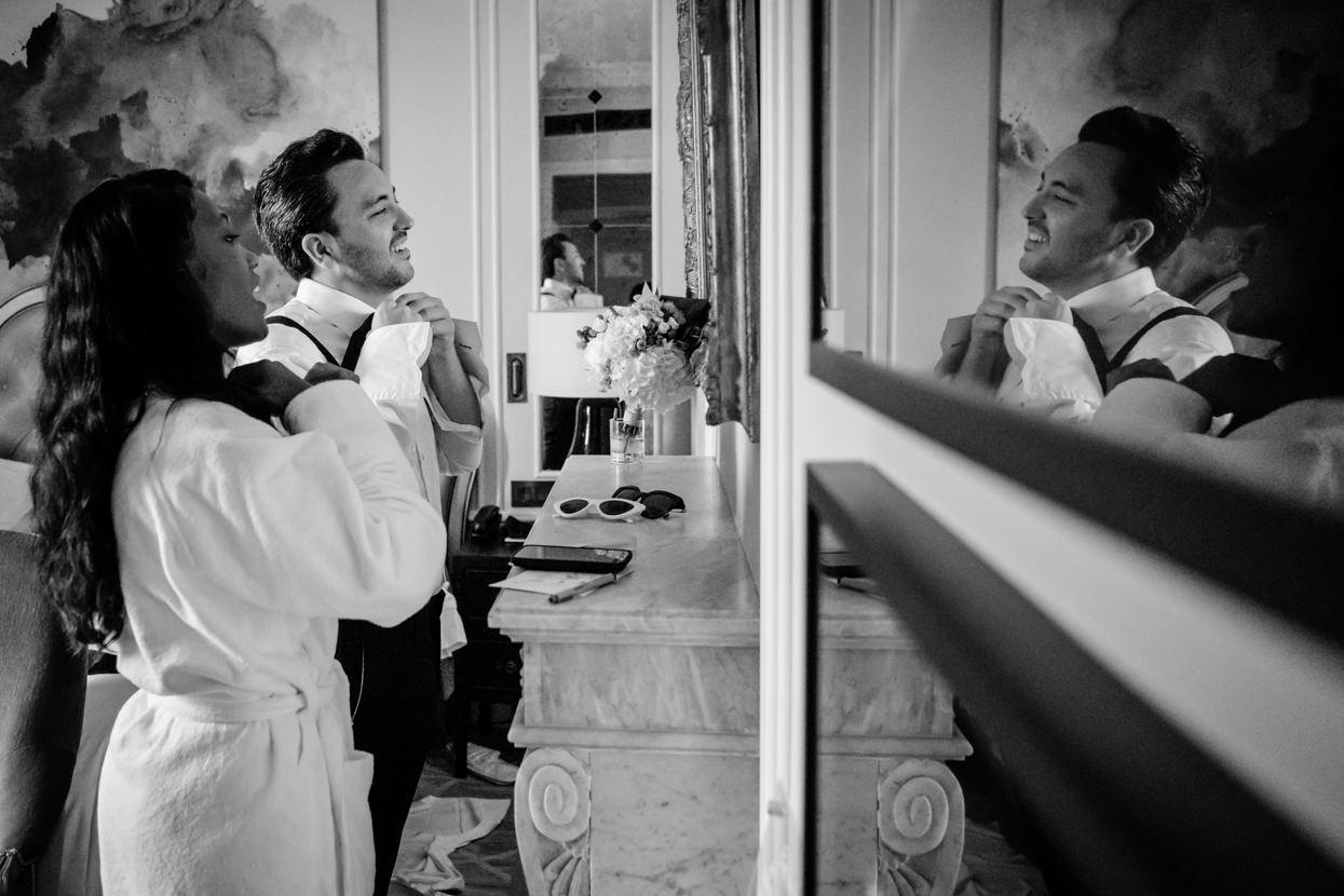 Preparativos de novios en Hotel María Cristina